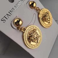 Wholesale hip earrings resale online - New Vintage Baroque Gold Medusa Earrings Hip Hop Stainless Steel Stud Earring For Women Couple Jewelry gift