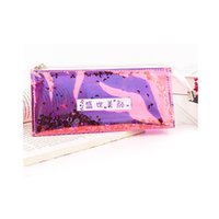 пвх ручка оптовых-Women's Makeup Bags Cosmetic Bag Cool Transparent Sequin Girls PVC Reflective Pen Pencil Case Toiletry Organizer Pouch