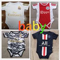 bebek bebek kızları toptan satış-2019 2020 erkek bebek erkek giysi tasarımcısı 19 20 Real Madrid bebek kız giysi tasarımcısı kaliteli psg 6-18 ay bebek büzgü