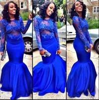 klassische königliche kleider großhandel-Classy Mermaid Style Prom Dresses Südafrika Royal Blue Durchsichtig Applikationen Spitze Ärmel Abendkleider vestidos festa Elegant Long