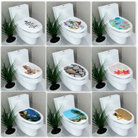 Wholesale bathroom art stickers for sale - Group buy Art D closestool creative funny paste toilet decoration stickers multi style bathroom decoration waterproof antifouling stickers