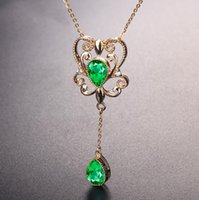 Wholesale jewelry palace china for sale - Group buy Palace emerald colorful gem pendant female K yellow gold plated clavicle chain jewelry