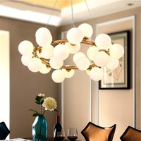 ingrosso ha condotto la luce del pendente di cristallo della sfera-Lampade a sospensione moderne a LED Magic Bean per soggiorno Sala da pranzo G4 Lampadari in vetro bianco
