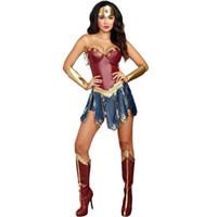 wonder woman costume оптовых-Hot Wonder Woman Костюм Сексуальные Супергероя Костюмы Хэллоуин ролевая Fantasia Party Косплей Супермен Боди С Покрытием Для Ног S-2XL