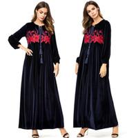 ingrosso abiti arabi donne-Vestidos 2019 Abaya Kaftan Qatar Velluto arabo Hijab Abito musulmano Donne Caftano Jilbab Robe Dubai Elbise Abbigliamento islamico turco