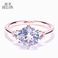 Wholesale solid 14k rings resale online - HELON Special Solid k Rose Gold Flawless Round mm ct Natural white topaz Ring Engagement Wedding Women Fine Jewelry Ring