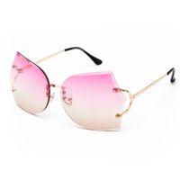 Wholesale multicolor girl sunglasses resale online - New Arrival Girl Unique Rimless Sunglasses Women Retro Ombre Lens Glasses Eyeglass Frame For