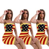 bayrak seksi elbiseleri toptan satış-Moda ABD Bayrağı Yıldız Çizgili Baskılı Straplez Elbise tasarımcısı kadın yaz elbiseler Tüp Üst Düşük Geri Bodycon Elbise Seksi Kulübü Etekler C71202