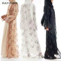 uzun etek hırka toptan satış-Sıcak Satış Müslüman Bayan Uzun Etek Hırka Pullu Nakış Dantel Jilbab Abaya Dubai Için Dışında Dikişsiz