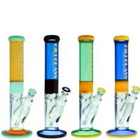 conduites d'eau bleu achat en gros de-Bang en verre coloré de 14 pouces hauteur vertigineux droit tube en verre de pipe à eau dab rig plate-forme pétrolière bongs lourd grosse cire rose bécher bleu barboteur