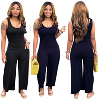 sexy bodysuits sleeveless 2021 - Plus size 3XL Summer Women wide-leg Jumpsuits fashion sleeveless solid color bodysuits sexy night club wear Casual black blue Overalls 2575