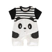 ropa de bebé niña panda al por mayor-Bebé recién nacido de dibujos animados Body Kids Designer Boy Girls Striped Panda Mono Infant Baby Romper Verano Delgado Niños Ropa 06