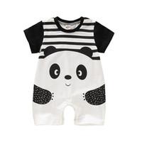 panda takım tulumları toptan satış-Yenidoğan Bebek Karikatür Bodysuit Çocuklar Tasarımcı Erkek Kız Çizgili Panda Tulum Bebek Bebek Romper Yaz Ince Çocuk Giyim 06