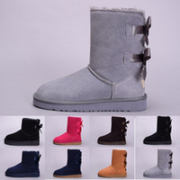 Wholesale orange canvas paintings for sale - Group buy 2019 winter Australia Classic snow Boots good fashion WGG tall boots real leather Bailey Bowknot women s bailey bow Knee Boots mens shoes