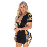 mini-spandex club kleider großhandel-Womens Summer Designer V-Ausschnitt Flügelärmeln Kleider Sexy Nachtclub Freizeitkleidung Kontrast Reißverschluss