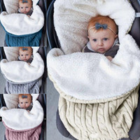 Wholesale soft baby wool resale online - Stroller Sleeping Bags Thick Infant Knit Swaddle Soft Sleep Sack Warm Swaddling Blanket Baby Stroller Accessories Colors YW1644