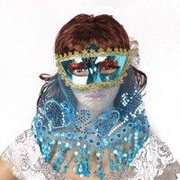 traje de dança do ventre de renda venda por atacado-Sexy Lace Máscara Venetian Máscara Masquerade véu para a mulher partido do carnaval de Natal Halloween Belly Dança máscara traje véu DBC VT1060