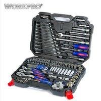conjunto de kit de reparación de auto al por mayor-Juego de herramientas WORKPRO 123PC Herramientas de mano para auto Kits de herramientas de reparación de automóviles profesionales