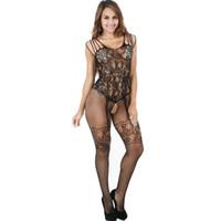 offene onesies großhandel-Womens Sexy Erotic Stockings Underwear 2019 Neue Frauen Lace Onesies Strümpfe Fashion Sleeveles Female Open Underwear
