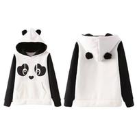 sudaderas con capucha panda lindo al por mayor-Kawaii Hoodies Chinese Panda Cartoon Sudaderas impresas para mujeres con orejas Hoody Casual Cute hoodies