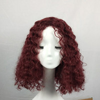 Wholesale synthetic afro kinky weave online - Ladies Curly Medium Wigs Afro Curly Heat Resistant Synthetic Hair Weaving Lace Front Wigs For Black Fashion Kinky Jerry Curly Beauty Headwea