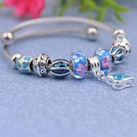 Wholesale cz crystal glass bead resale online - Fashion Titanium Steel Wire Bracelets Charms Fit Pandora Women Enamel Murano Glass Beads Bangle Clear Blue Crystal CZ Pendant Jewelry