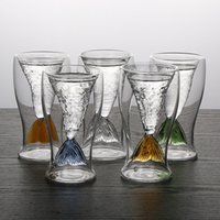 Wholesale folk art fish resale online - 100ml Creative Crystal Mermaid Tail Cup Transparent Glass Fish Tail Practical Creative Wine Cup Heat resisting Glass Bar Cups