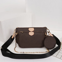 Wholesale three pieces handbags for sale - Group buy A three piece designer luxury handbags purses classic printing Mahjong package Double side wide and chain shoulder strap crossbody bags