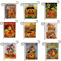 Wholesale pumpkin banner for sale - Group buy Thanksgiving Turkey Garden Flag Halloween Pumpkin Hello Fall Autumn Welcome Double Side Print Hanging Banner Flags Party Decoration cm