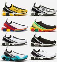 chaussures de marque griffée achat en gros de-2019 HOT Marque Hommes Tissu Stretch Jersey Sorrento Slip-on Sneaker Designer Lady Deux-Tone En Caoutchouc Micro Sole Respirant Casual Chaussures Boîte