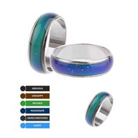 мужские кольца настроения оптовых-1Pc 2019 Hot Stainless Steel Magic Mood Ring Temperature Changing Color Emotion Feeling Rings For Women Men Couple Ring Jewelry