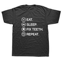 fijación de dientes al por mayor-Eat Sleep Fix Dientes Odontología Dentista Profesión Camiseta Humor Streetwear Verano Divertido Algodón Manga corta 3D Camisetas