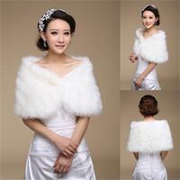 White Bridal Wrap Shawl Coat Jackets Boleros Shrugs Regular Faux Fur Stole Capes Wedding Party 17004