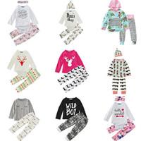 mini yılbaşı şapkası toptan satış-Bebek Erkek Kız Giyim Setleri 29 Tasarım Noel Kar Kış Sonbahar Rahat Gömlek Suits Pantolon Pantolon Bebek Kıyafetler Çocuklar Üstleri Şort 0-24 M