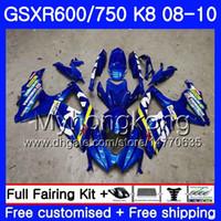 suzuki k8 gold großhandel-Karosserie Für SUZUKI GSX-R600 GSXR 750 600 600CC GSXR600 08 09 10 297HM.0 GSX R600 R750 GSX-R750 K8 GSXR750 2008 2009 Verkleidungsfabrik blau