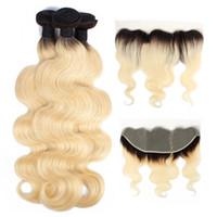 наращивание волос блондинкой оптовых-1B 613 Ombre Пучки светлых волос с фронтальной перуанской девственницей Объемная волна волос 3 пучка с 4x13 кружевными лобными реми человеческих волос Remy