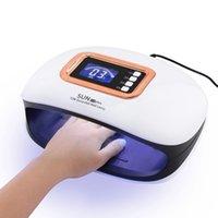 çivi uk toptan satış-72 W Güçlü UV LED Tırnak Lambası Kür Tırnak Jelleri için Zaman Ayarı Otomatik Sensör LCD Ekran AB ABD İNGILTERE Tak