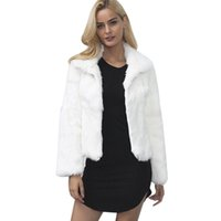 casacos de inverno elegantes e brancos venda por atacado-Mulheres Turn Down Collar Casaco De Pele Peludo Grosso Quente Fofo Casaco De Pele Falsa 2018 Inverno Elegante Branco Preto Feminino Outwear Casaco