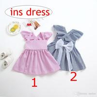 vestidos de rayas rosa niñas al por mayor-INS Summer Blue Pink Striped Girls Bow Dresses Baby Cotton Backless Party vestidos niños vestidos de princesa a rayas 2-6 años envío gratis