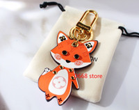 Wholesale fox bag man resale online - 2020 New rat and fox design keychains top quality alloy with leather key chain french luxury fashion brand bright color car bag keyring