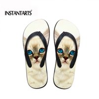 Wholesale sandals flipflops resale online - INSTANTARTS Kawaii Animal Pet Cat Flip Flops for Women Summer Ladies Soft Rubber Flipflops Casual Outside Sandals Home Slippers