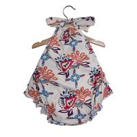 Wholesale sling newborn infant online - Baby girls Sling Hanging neck Romper Newborn infant arrow Floral print Jumpsuits summer Boutique Kids Climbing clothes colors C6280
