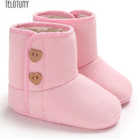 Wholesale purple infant boots for sale - Group buy TELOTUNY First Walkers Infant Newborn Baby Girls Cashmere Winter Button Boots Prewalker Warm Shoes Baby Shoes Fashion New nov24