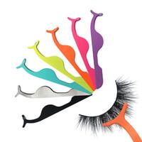 Wholesale clip false eyelashes resale online - False Eyelash Tweezers Fake Eye Lash Applicator Eyelash Extension Curler Nipper Auxiliary Clip Clamp Makeup Forceps Tools RRA1342