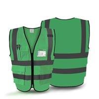 ropa de construcción reflectante al por mayor-Ropa Chaleco reflectante Construcción tierra del edificio fluorescente verde Saneamiento de seguridad Ropa de protección 150g se pueden imprimir