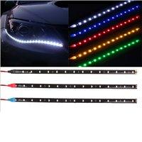 luz de conducción diurna flexible led al por mayor-Tira de LED flexible HighPower 12V 15SMD LED de coche 30cm Luz diurna Tira de coche Impermeable Auto Luz decorativa