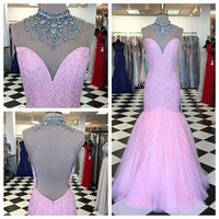 Wholesale rhinestone evening dress sequin resale online - Real Photo Pink High Neck Prom Formal Dress Keyhole Back Lace Mermaid Tulle Rhinestones Beaded Long Evening Formal Pageant Dress Gowns Cheap