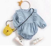 meninas denim venda por atacado-Ins Roupa do bebê Primavera Outono 100% algodão romper Gola Redonda Denim Azul manga Comprida Menina romper Bebê roupa cuasual