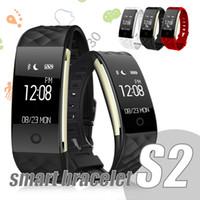 apple iphone s2 al por mayor-S2 Pulsera inteligente Bluetooth Relojes inteligentes Rastreador de ejercicios para iPhone Android Celular Corta de acero con monitor de frecuencia cardíaca impermeable IP67