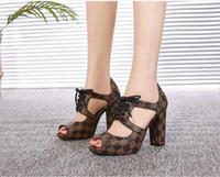 ingrosso cuoio di pesce ad alta moda-Primavera e l'estate nuova moda tacchi alti sexy sandali da donna in pelle pesce bocca scarpe